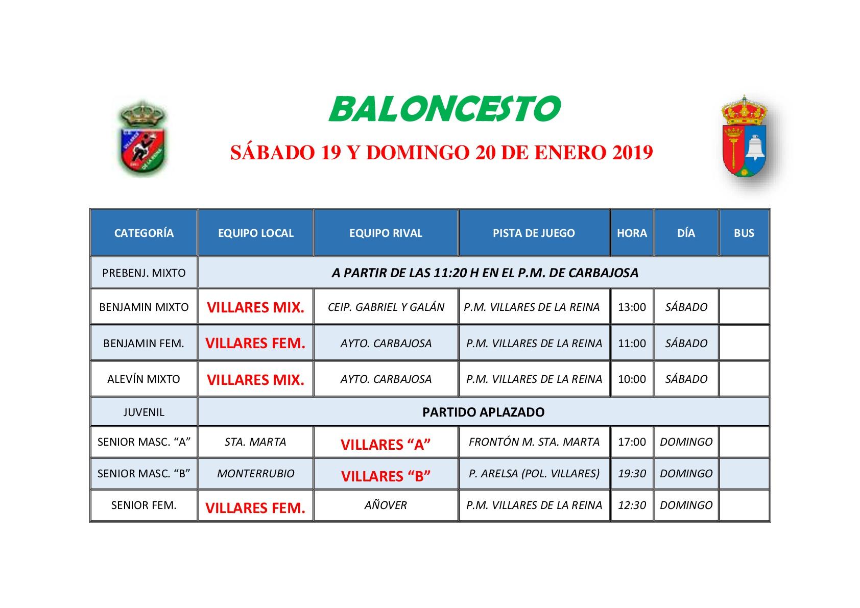 HORARIOS DE BALONCESTO S�BADO 19 Y DOMINGO 20 DE DICIEMBRE