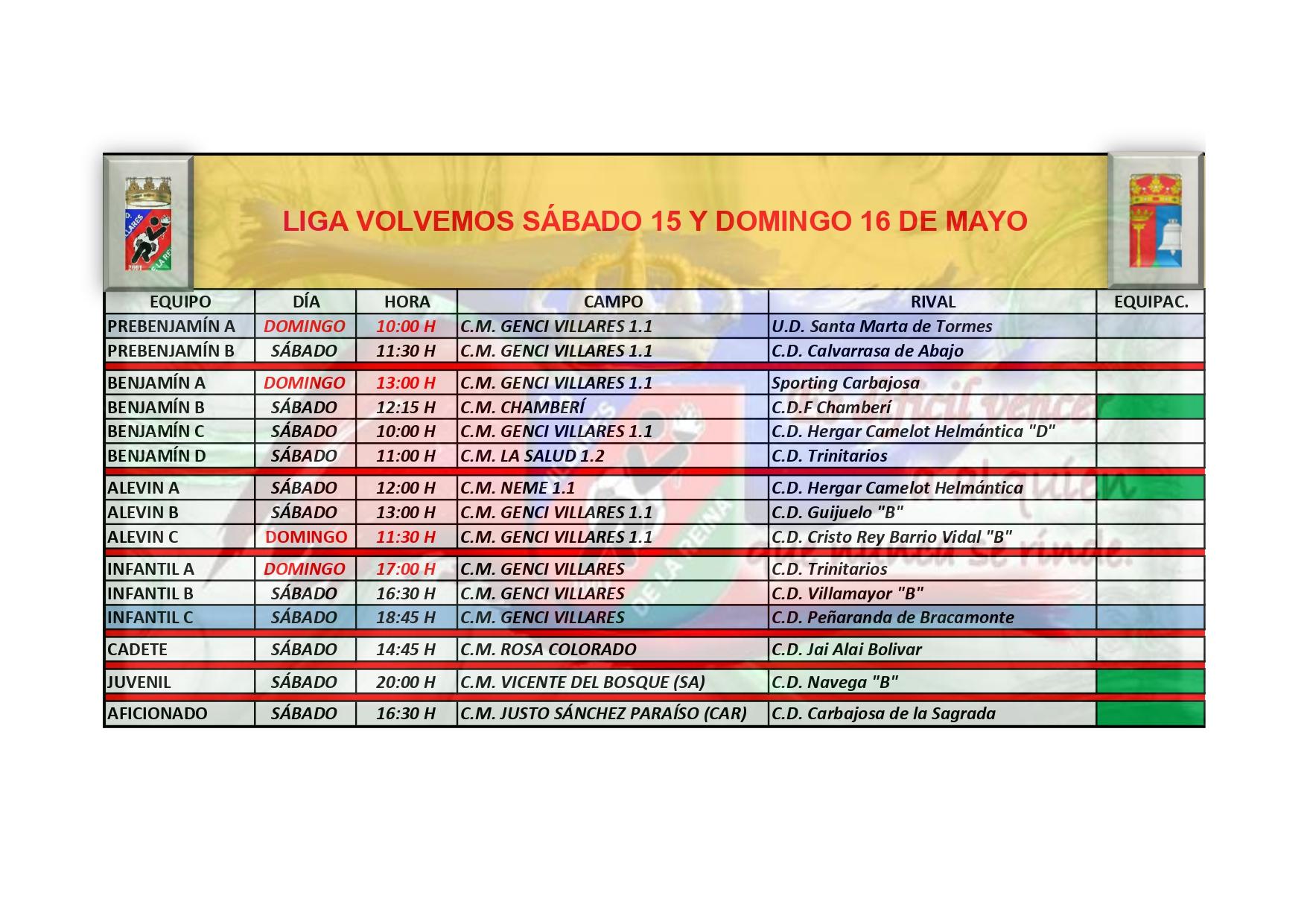 HORARIOS SÁBADO 15 Y DOMINGO 16 DE MAYO