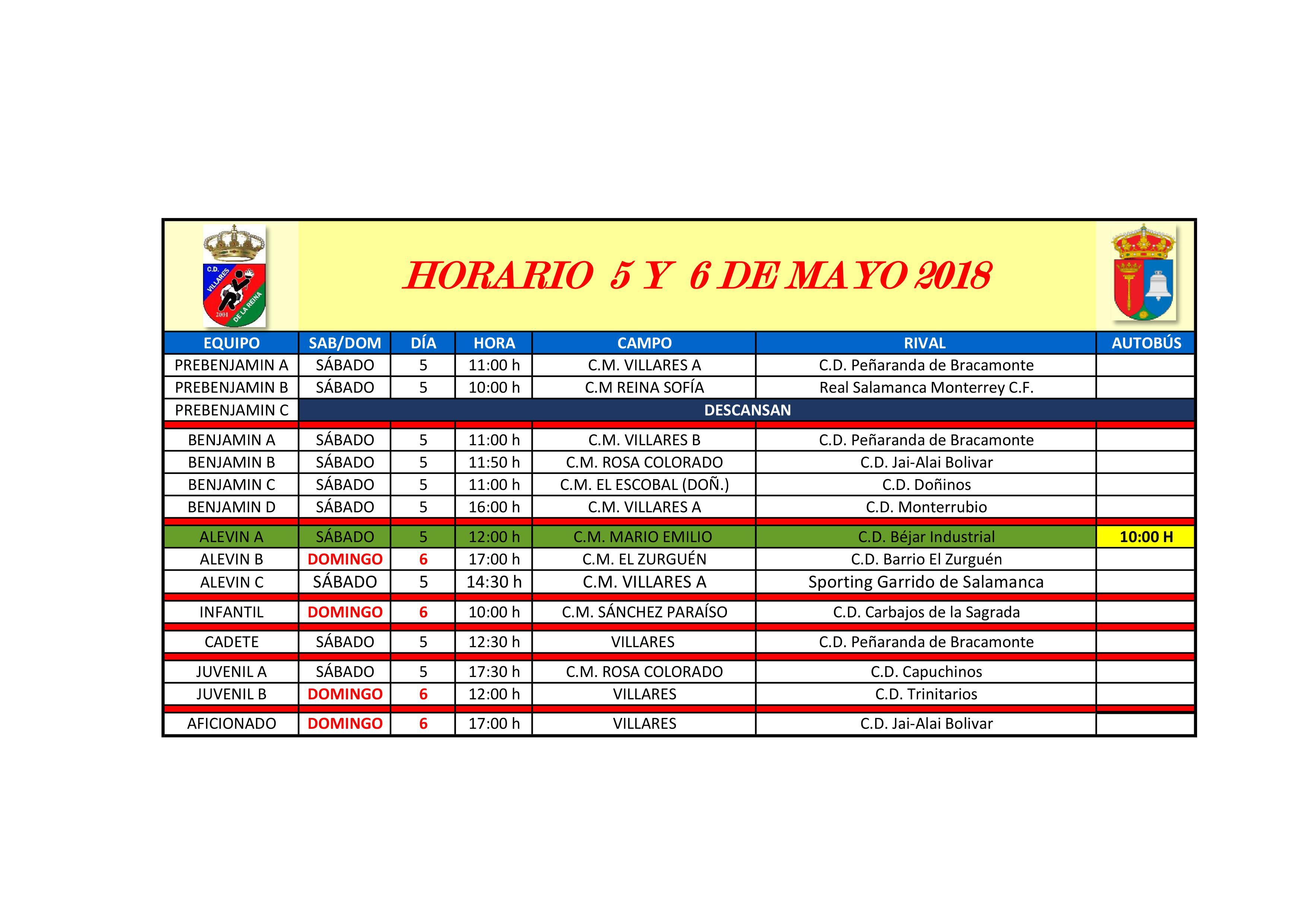 Horarios de f�tbol fin de semana 5 y 6 de Mayo