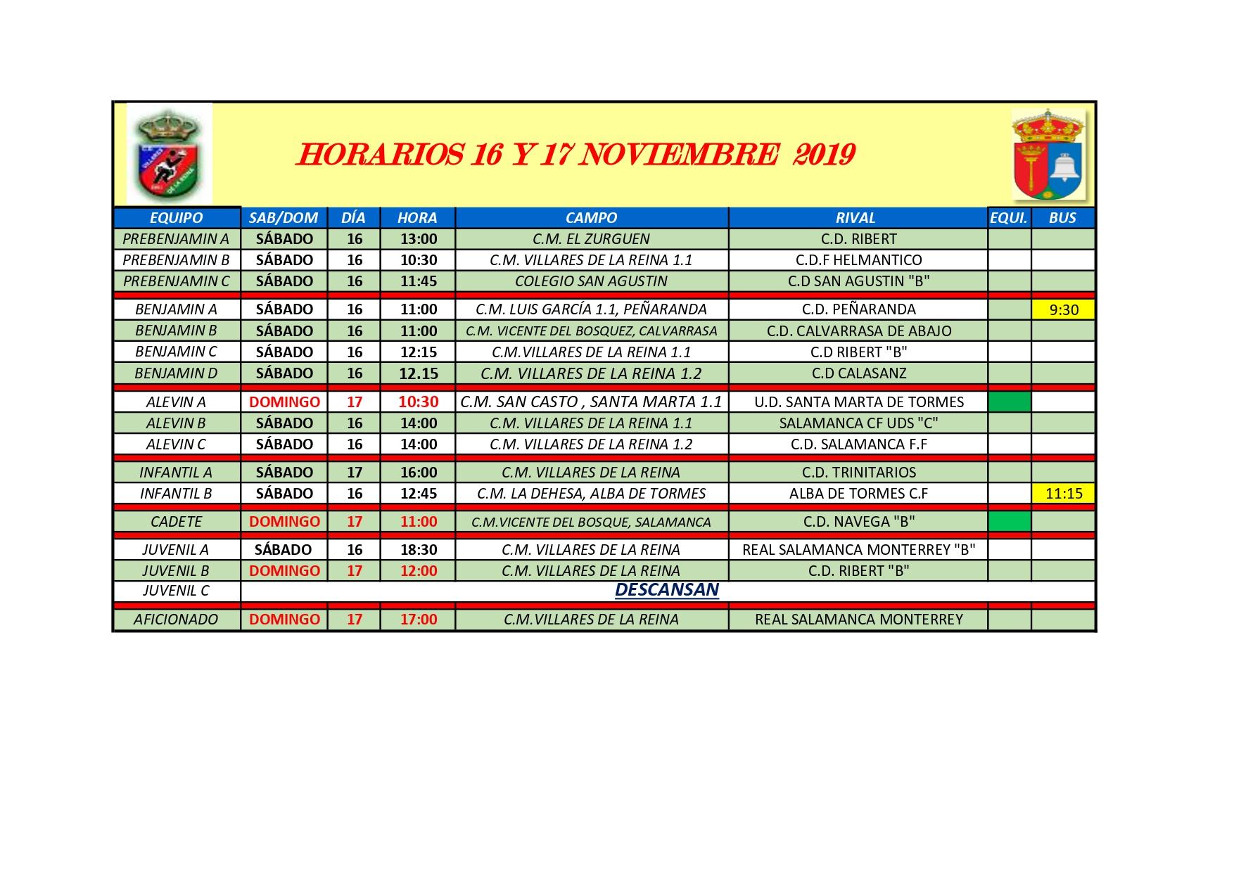 HORARIO DE F�TBOL S�BADO 16 Y DOMINGO 17 DE NOVIEMBRE