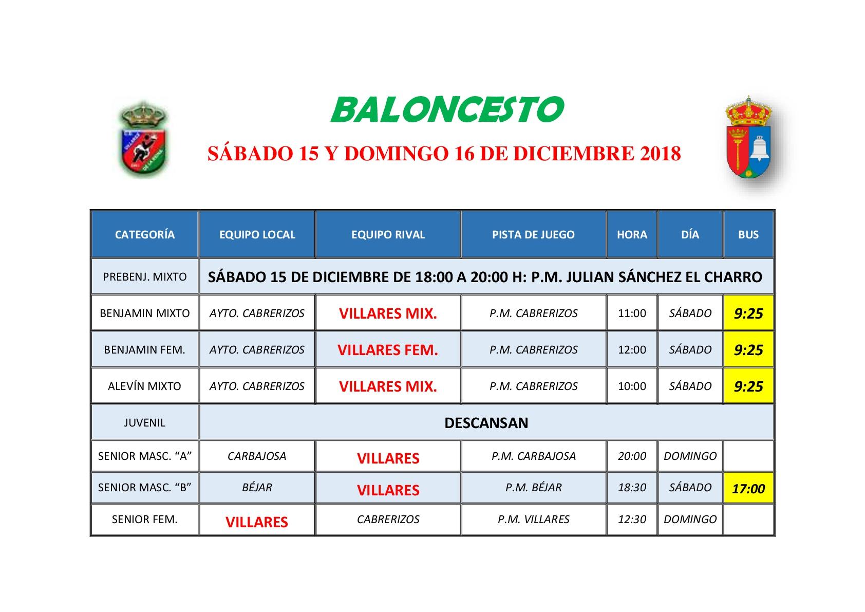 HORARIOS DE BALONCESTO S�BADO 15 Y DOMINGO 16 DE DICIEMBRE